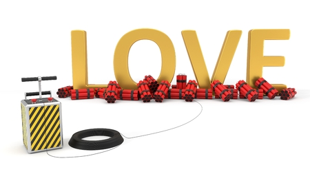 love text with dynamite pack and detenator. 3d illustration. Stock Photo