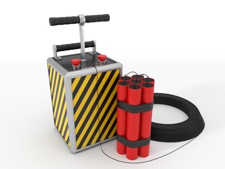 dynamite pack and detenator. 3d illustration. Imagens