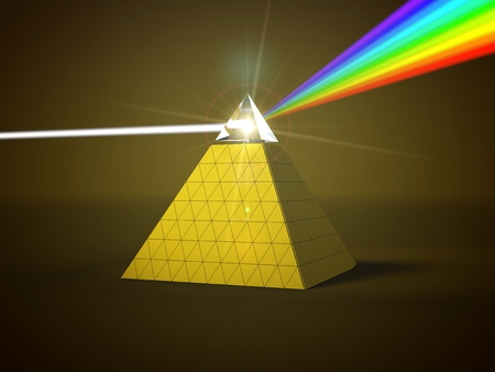 white light ray dispersing to other color light rays via pyramid prism. 3d illustration