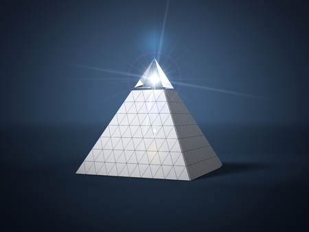 pyramid with glass part on top and light beam into glass part. 3d illustration