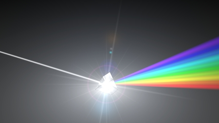 white light ray dispersing to other color light rays via prism. 3d illustration