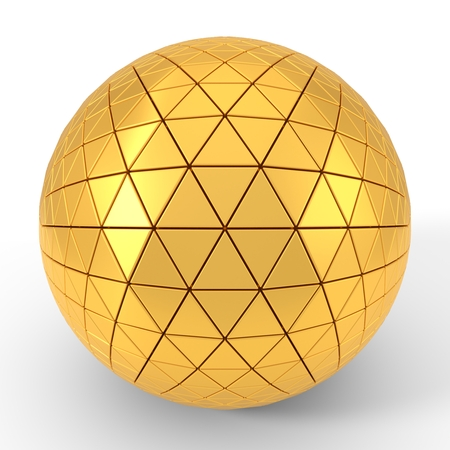 triangle plated golden sphere. 3d illustration