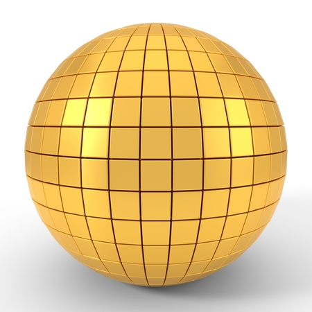 quadgon shapes plated golden sphere. 3d illustration