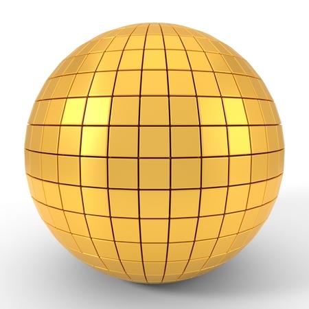 quadgon shapes plated golden sphere. 3d illustration