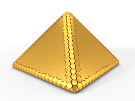 hexagon plated golden pyramid. 3d illustration
