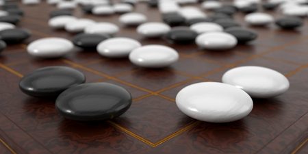 Close up view of traditional asian goban board and weiqi go game. 3d illustration