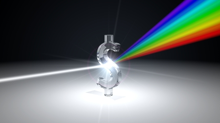 white light ray dispersing to other color light rays via dollar shaped prism. with light beam on ray break point. 3d illustration