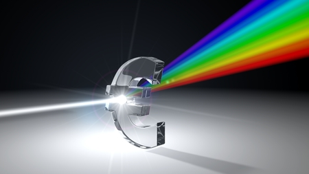 white light ray dispersing to other color light rays via euro shaped prism. with light beam on ray break point. 3d illustration Banco de Imagens