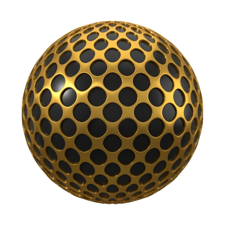 gold plated black sphere. 3d illustration, suitable for technology themes. isolated on white