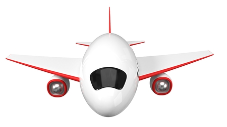 stylized airplane design. simple 3d illustration. isolated on white