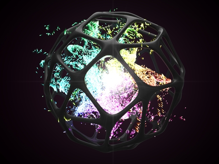 concept of energy particles into artifactial black cage. 3d illustration