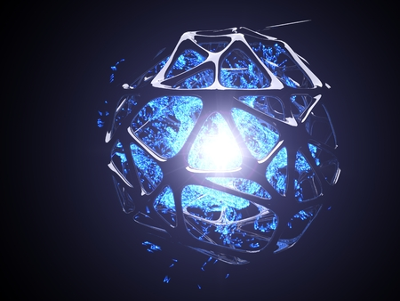 concept of blue energy particles into artifactial black cage. 3d illustration