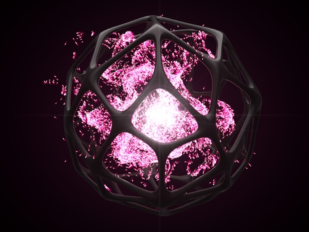 concept of pink energy particles into artifactial black cage. 3d illustration