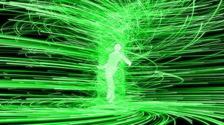 artificial intelligence figure in the center of green energy vortex. 3d illustration Stock Photo