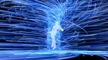 artificial intelligence figure in the center of blue energy vortex. 3d illustration