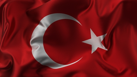 beautiful turkish flag made of silk. 3d illustration.
