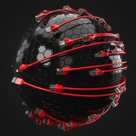 red internet cables covering hi-tech sphere. conceptual 3d illustration of ethernet cable and rj-45 plug.