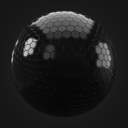 3d illustration of hexagon plated golden sphere