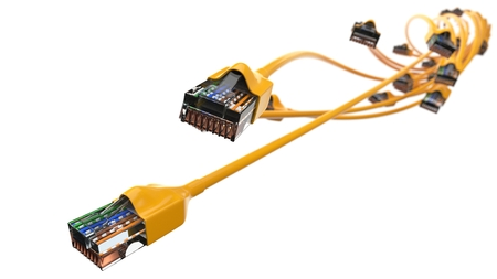 twisting yellow internet cables. conceptual 3d illustration of ethernet cable and rj-45 plug.