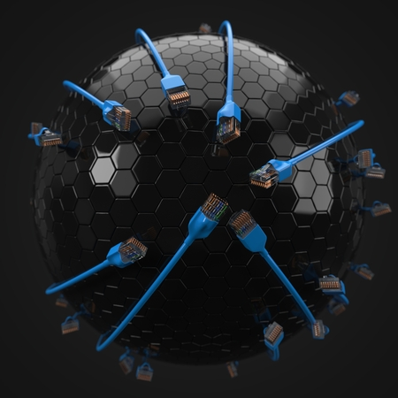 blue internet cables covering hi-tech sphere. conceptual 3d illustration of ethernet cable and rj-45 plug. 写真素材