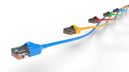 twisting internet cables. conceptual 3d illustration