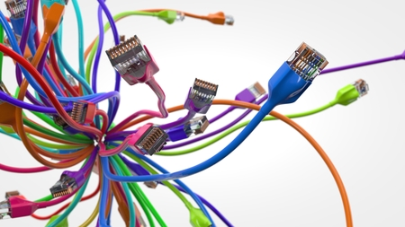 swarming internet cables. conceptual 3d illustration of ethernet cable and rj-45 plug.