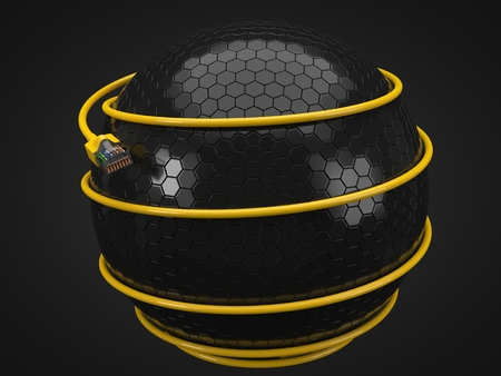 yellow internet cable around tech sphere. conceptual 3d illustration