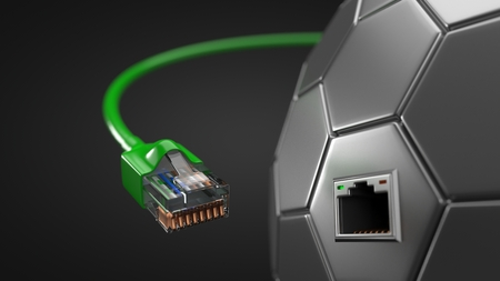 green internet cable and hexagonal tech hub. conceptual 3d illustration of ethernet cable and rj-45 plug.