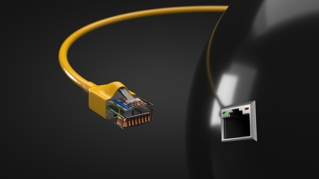 internet cable and tech hub sphere. conceptual 3d illustration of ethernet cable and rj-45 plug.