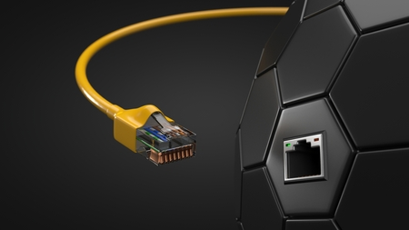 internet cable and hexagonal tech hub. conceptual 3d illustration of ethernet cable and rj-45 plug.