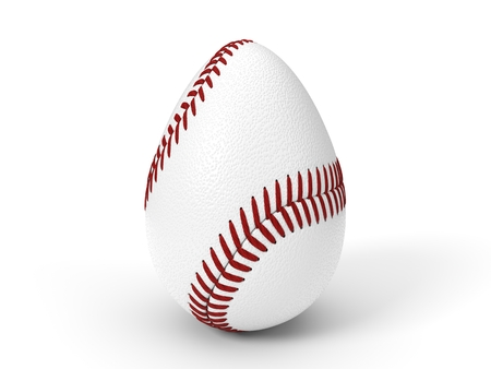baseball ball as easter egg. easter concept with sport theme. 3d illustration.