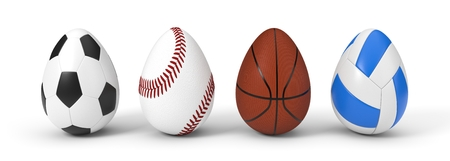 diffferent sport balls as easter egg. easter concept with sport theme. 3d illustration.