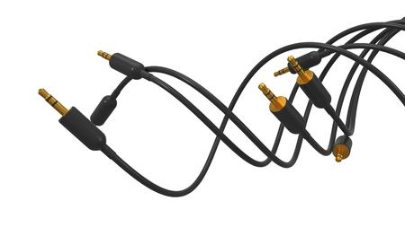 twisting audio cords. 3d illustration