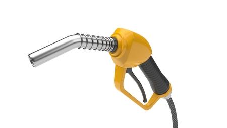 yellow fuel nozzle, close up view. 3d illustration