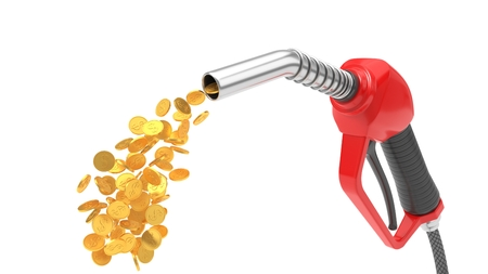 red fuel nozzle pumping gold coins. 3d illsutration