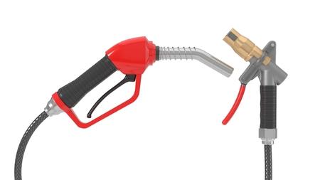 red fuel nozzle and gas pump nozzle. 3d illustration