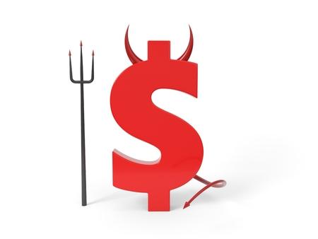 money is evil. conceptual 3d illustration.