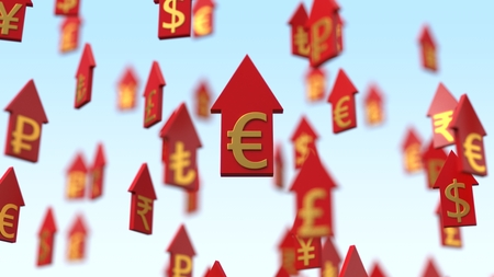 3d illustration rising currency arrows