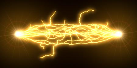 yellow electric arcs. 3d illustration Reklamní fotografie