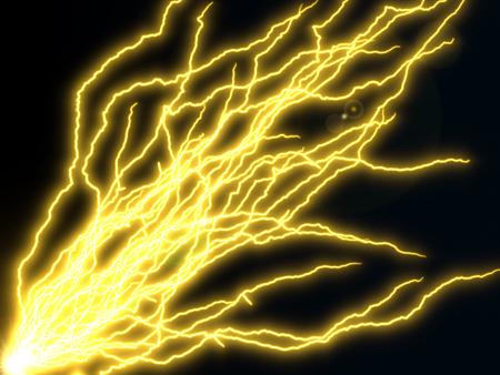 long yellow electric arcs. 3d illustration