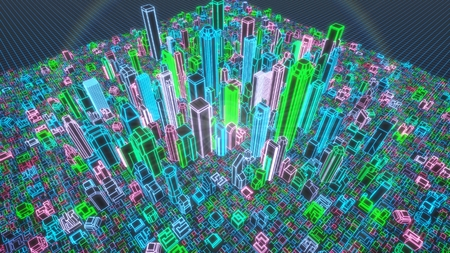 3d holographic illustration of city