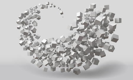 big stroke motion formed by random sized cubes. suitable for technology and abstract themes Illustration