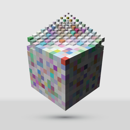 Bigger cube dissolving to smaller cubes suitable for technology and abstract themes