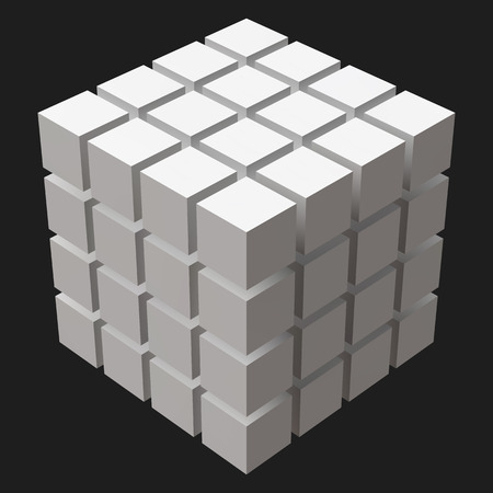 big cube with cubic cuts Illustration