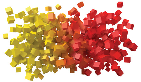 abstract design with colorful cubes. Illustration