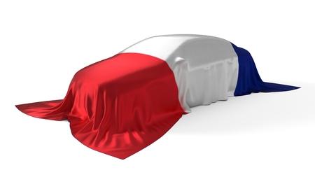 france flag covered car concept. 3d illustration