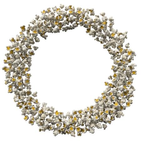 frame formed by popcorn pieces. 3d illustration Stock Illustration - 101848965