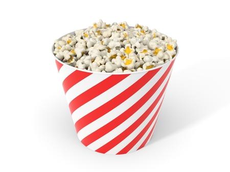 bucket of popcorn. 3d illustration Stok Fotoğraf