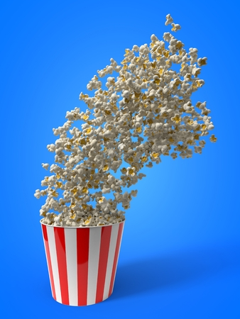 throwing bucket of popcorn. 3d illustration Stock Photo