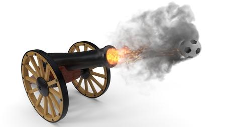 cannon shooting soccer ball.. 3d illustration